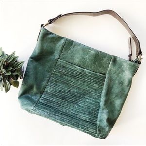 Nino Bossi leather shoulder bag purse dark green